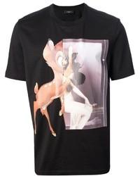 T-shirt à col rond imprimé noir
