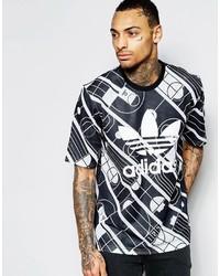 T-shirt à col rond imprimé noir adidas