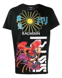 T-shirt à col rond imprimé noir Balmain