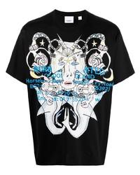 T-shirt à col rond imprimé noir Burberry