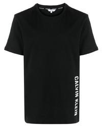 T-shirt à col rond imprimé noir Calvin Klein