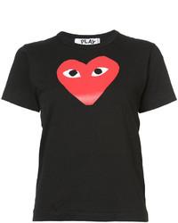 T-shirt à col rond imprimé noir Comme des Garcons