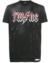 T-shirt à col rond imprimé noir DSQUARED2