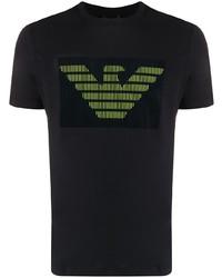 T-shirt à col rond imprimé noir Emporio Armani