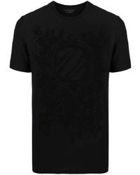T-shirt à col rond imprimé noir Ermenegildo Zegna