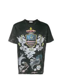 T-shirt à col rond imprimé noir Etro