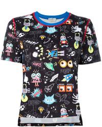 T-shirt à col rond imprimé noir Fendi