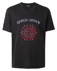 T-shirt à col rond imprimé noir Giorgio Armani