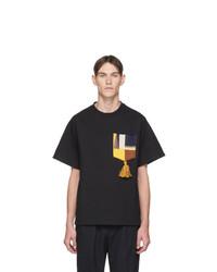 T-shirt à col rond imprimé noir Jil Sander