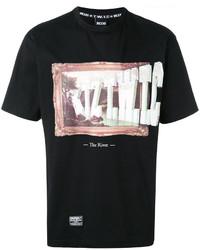 T-shirt à col rond imprimé noir Kokon To Zai