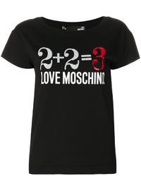 T-shirt à col rond imprimé noir Love Moschino