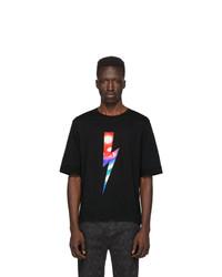 T-shirt à col rond imprimé noir Neil Barrett