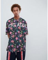 T-shirt à col rond imprimé noir Night Addict