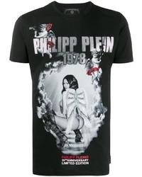 T-shirt à col rond imprimé noir Philipp Plein