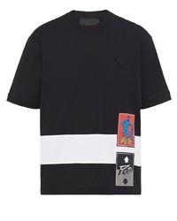 T-shirt à col rond imprimé noir Prada
