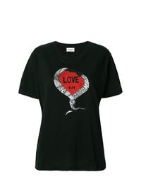 T-shirt à col rond imprimé noir Saint Laurent