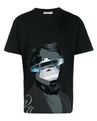 T-shirt à col rond imprimé noir Valentino