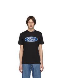 T-shirt à col rond imprimé noir Versace
