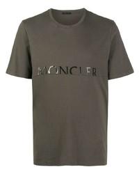 T-shirt à col rond imprimé olive Moncler