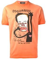 T-shirt à col rond imprimé orange