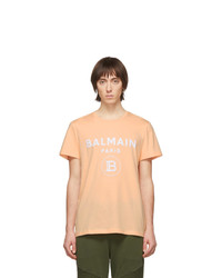 T-shirt à col rond imprimé orange Balmain