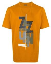 T-shirt à col rond imprimé orange Ermenegildo Zegna