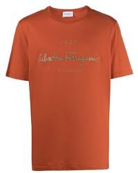 T-shirt à col rond imprimé orange Salvatore Ferragamo