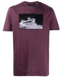 T-shirt à col rond imprimé pourpre foncé Limitato