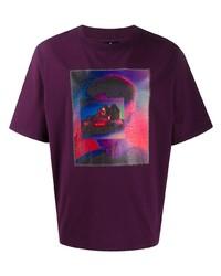 T-shirt à col rond imprimé pourpre foncé Marcelo Burlon County of Milan