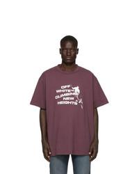 T-shirt à col rond imprimé pourpre foncé Off-White