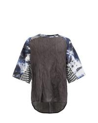 T-shirt à col rond imprimé pourpre foncé Yang Li