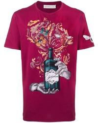 T-shirt à col rond imprimé pourpre Etro