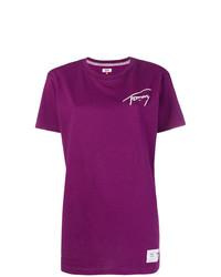 T-shirt à col rond imprimé pourpre Tommy Jeans
