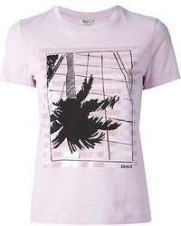 T-shirt à col rond imprimé rose