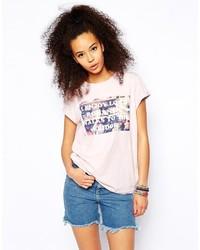 T-shirt à col rond imprimé rose Asos