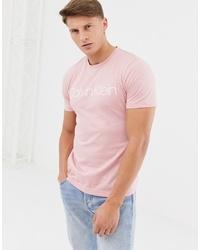 T-shirt à col rond imprimé rose Calvin Klein