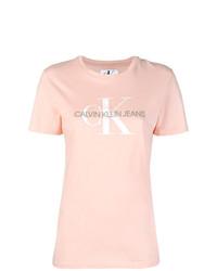 T-shirt à col rond imprimé rose Ck Jeans