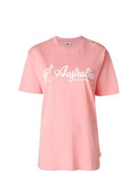 T-shirt à col rond imprimé rose Gcds