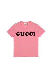 T-shirt à col rond imprimé rose Gucci