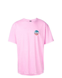 T-shirt à col rond imprimé rose Stussy