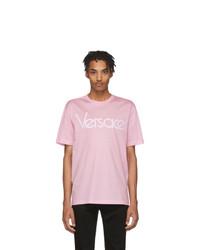 T-shirt à col rond imprimé rose Versace