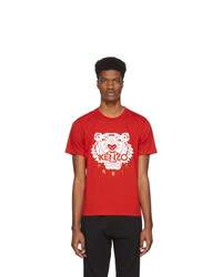 T-shirt à col rond imprimé rouge et blanc Kenzo