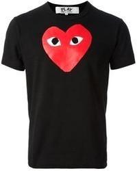 T-shirt à col rond imprimé rouge et noir Comme des Garcons