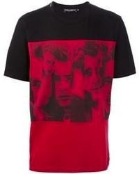 T-shirt à col rond imprimé rouge et noir Dolce & Gabbana