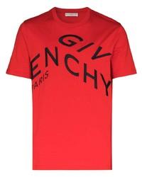 T-shirt à col rond imprimé rouge et noir Givenchy