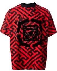 T-shirt à col rond imprimé rouge et noir Kokon To Zai