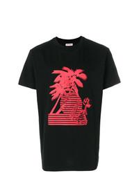 T-shirt à col rond imprimé rouge et noir Palm Angels