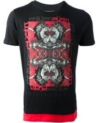 T-shirt à col rond imprimé rouge et noir Philipp Plein
