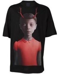 T-shirt à col rond imprimé rouge et noir