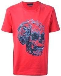 T-shirt à col rond imprimé rouge